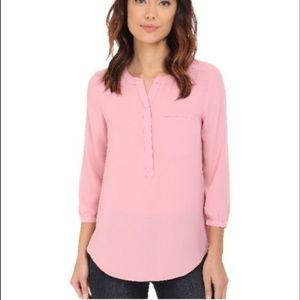 New!! NYDJ  3/4 sleeve pink pleated blouse